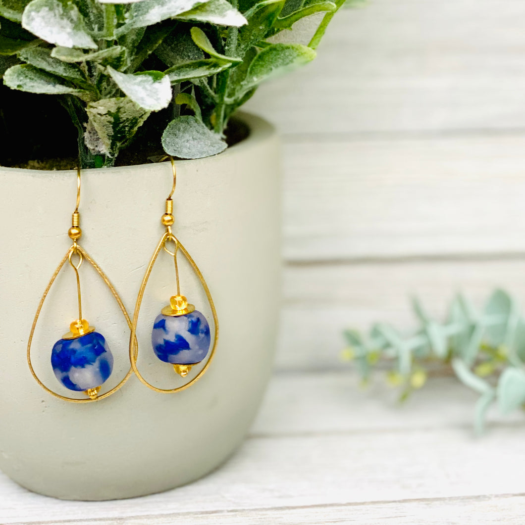 Teardrop earring - Speckled Cobalt