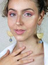 Load image into Gallery viewer, New Moon earring - Blue Swirl