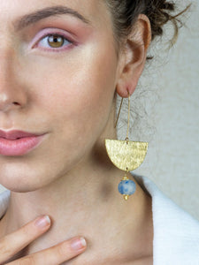 (Wholesale) New Moon earring - Blue Swirl