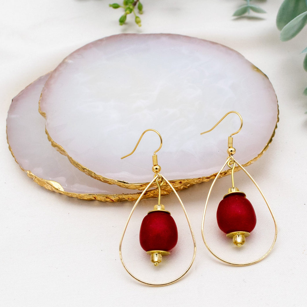 Teardrop earring - Red