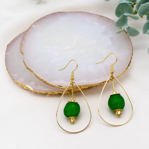 (Wholesale) Teardrop earring - Fern Green