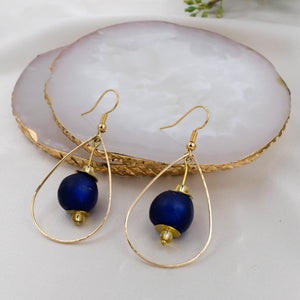 (Wholesale) Teardrop earring - Navy