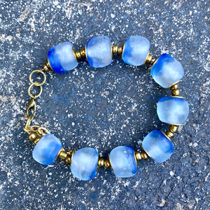Sky Blue Recycled Glass Bracelet