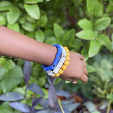 Load image into Gallery viewer, (Wholesale) Triple stack bracelets - Blue, White & Yellow
