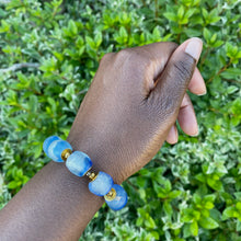 Load image into Gallery viewer, Sky Blue Recycled Glass Bracelet