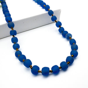 Long single strand necklace - Cobalt