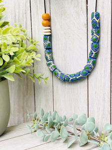 Hand painted adjustable necklace - Green & Blue