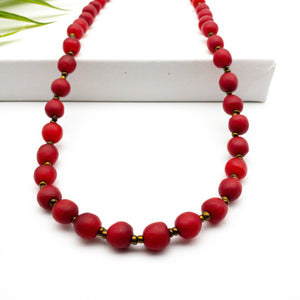 (Wholesale) Long single strand necklace - Red