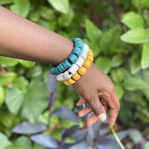 (Wholesale) Triple stack bracelets - Green, White & Yellow