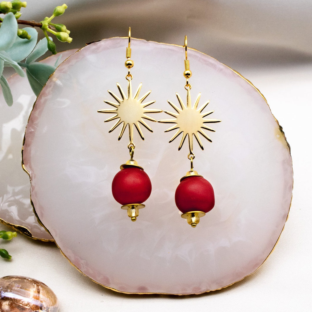 (Wholesale) Radiant earring - Red
