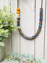 Load image into Gallery viewer, Hand painted adjustable necklace - Blue & Orange