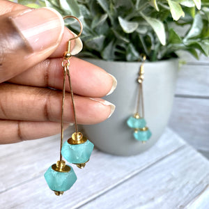 (Wholesale) Double drop earring - Turquoise