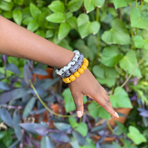 Hand painted triple stack bracelets - Black & White