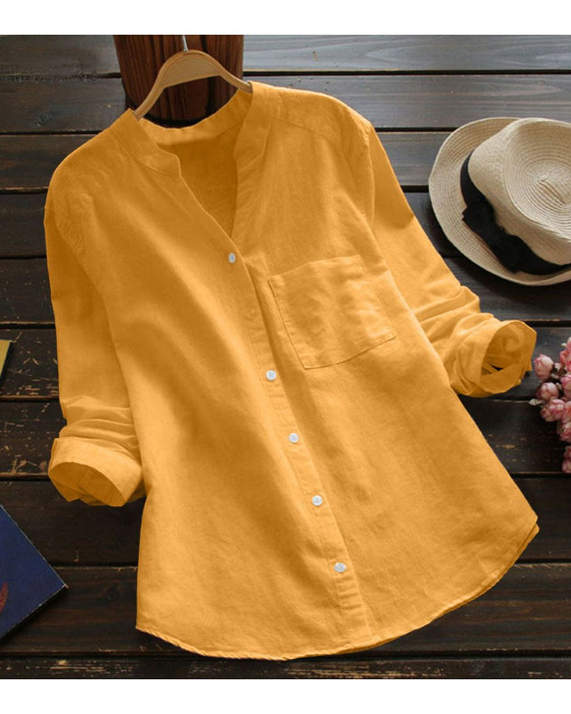 Women Long Sleeve Solid V Neck Casual Shirts & Tops