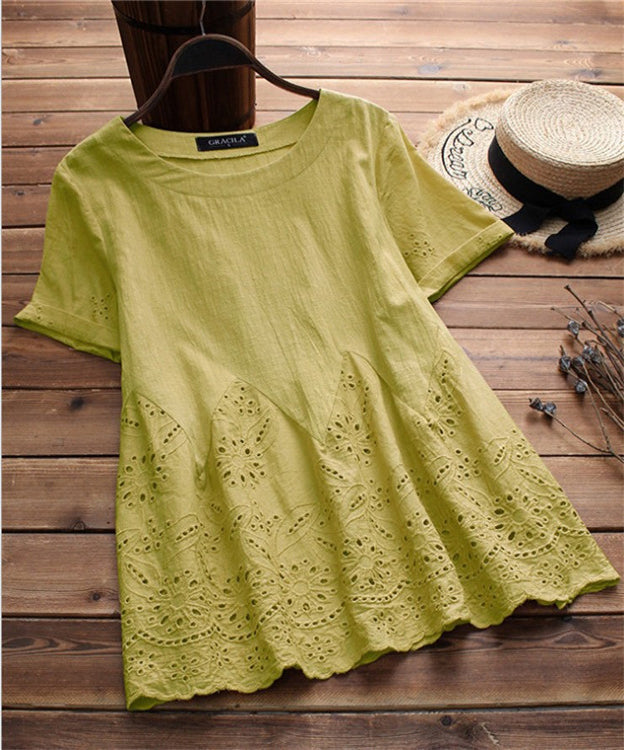 Women Round Neck Solid Elegant Short Sleeve Shirts & Tops