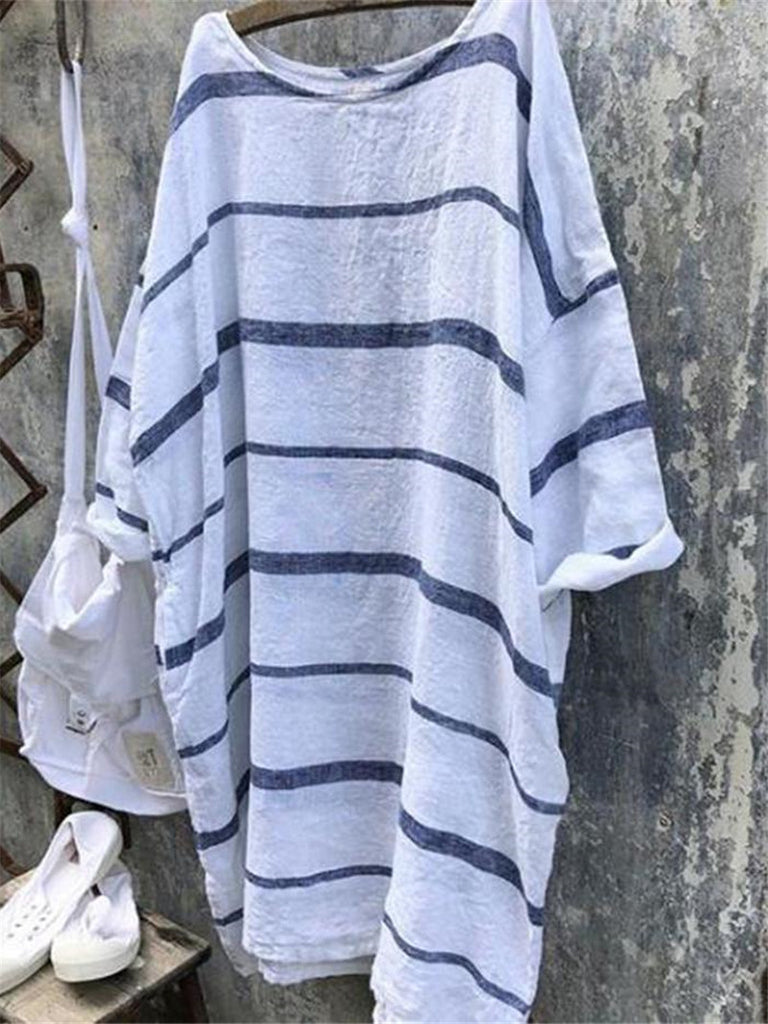 Women Linen Striped V Neck 3/4 Sleeve Shirts & Tops