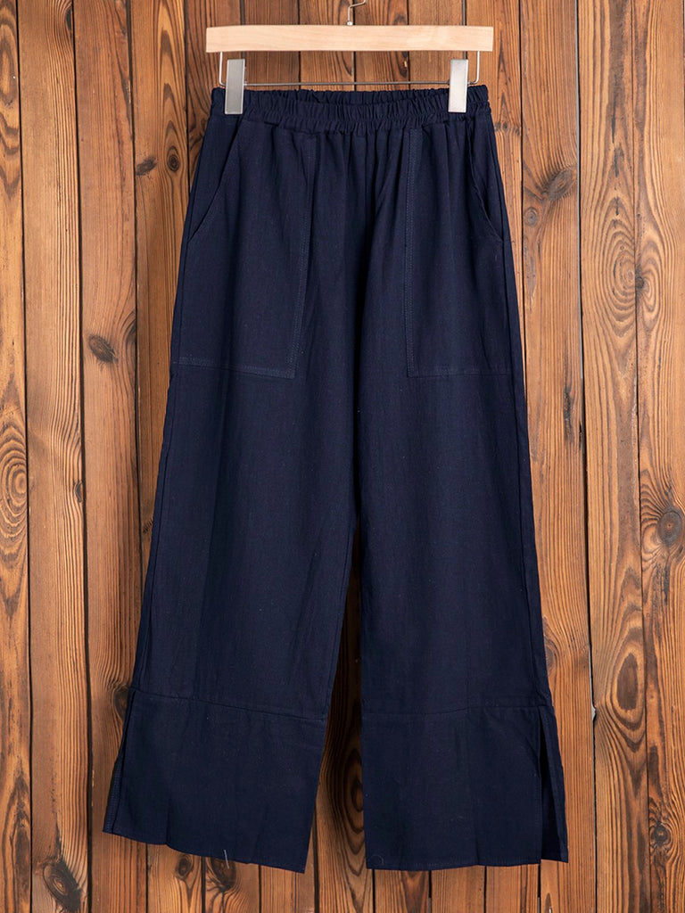 Plus Size Casual Pockets Solid Pants