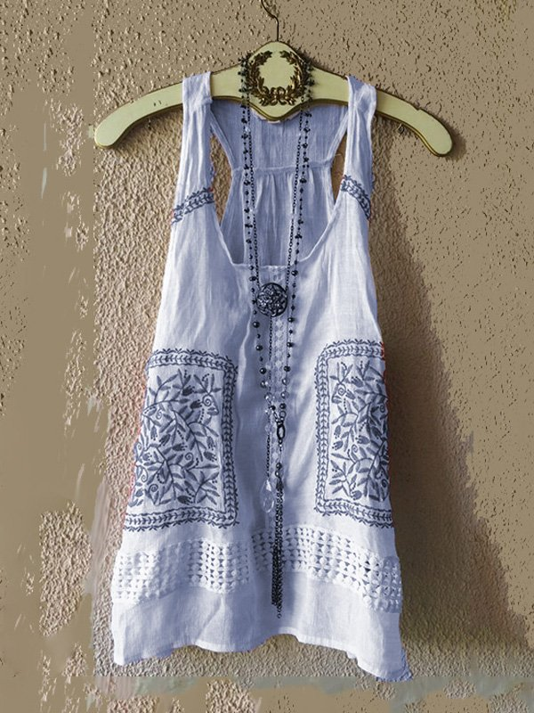 Women's Casual Loose Solid embroidered  Vest  & Tops