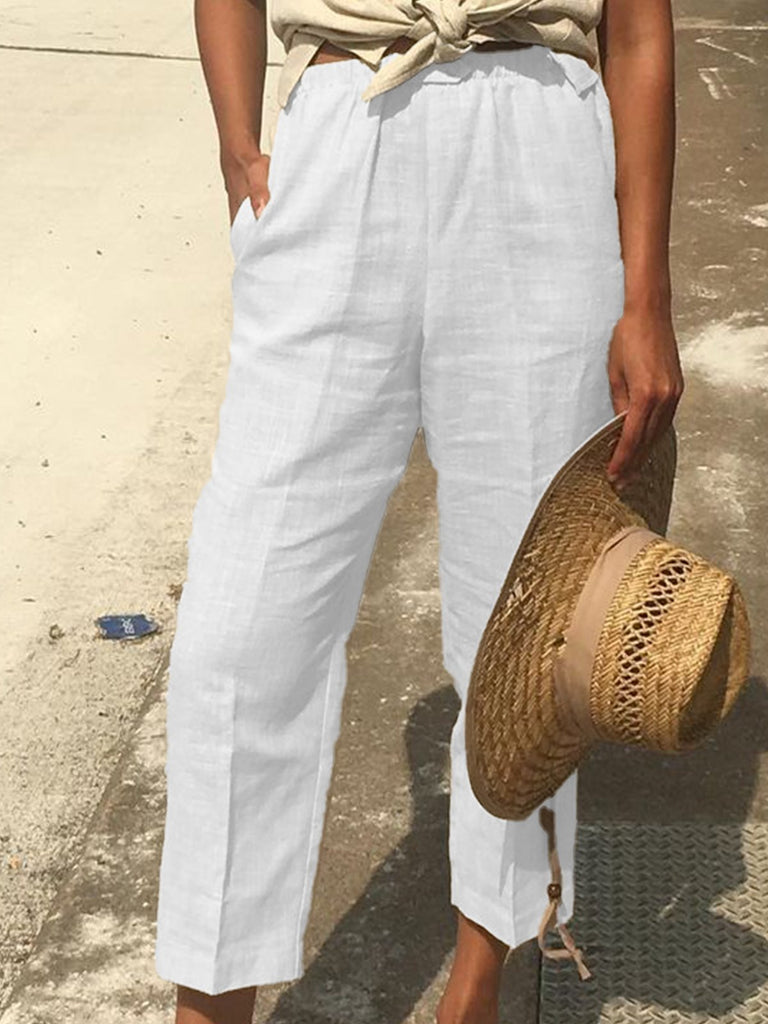 Plain Casual Linen Pants
