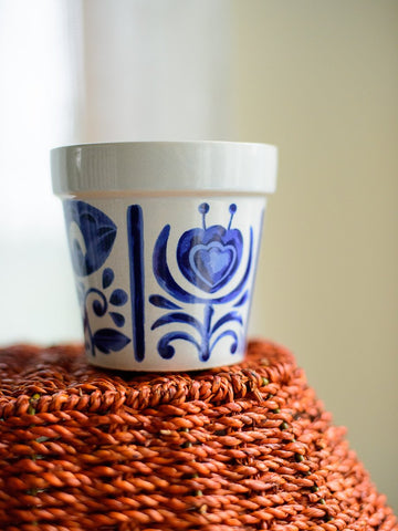 Small Blue and White Japanese Flower Pot