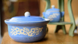 Harker Cameoware Blue Casserole, Creamer and Sugar Bowl