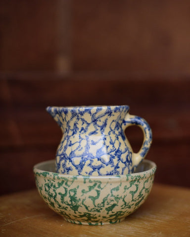 Mini Blue Spongeware Pitcher