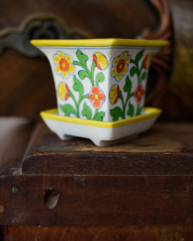 Cheery Yellow and Orange Japanese Planter with Saucer
