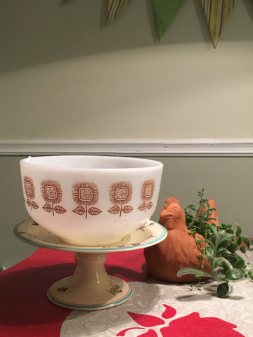70s Brown Flower Federal Milk Glass 2.5 Quart Mixing Bowl
