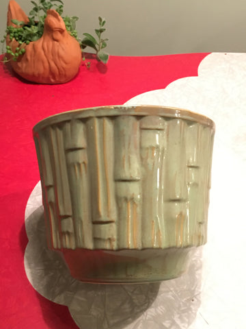 70s McCoy Green Large Bamboo Planter