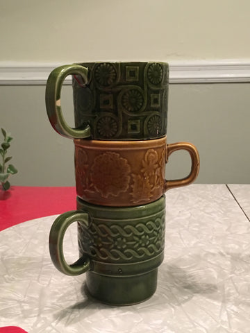 70s Retro Stackable Japanese Mugs