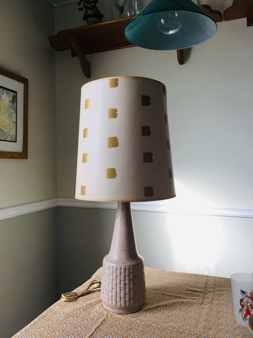 Midcentury Gold and Cream basketweave lamp with shade