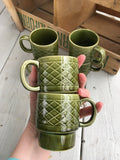 Moss Green Japan Stackable Coffee Mugs