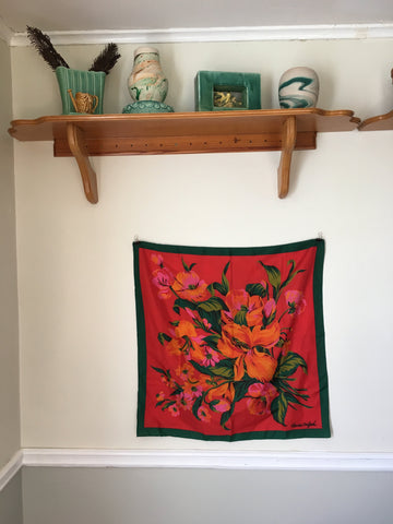 Super Bright Red Orange and Pink Floral Scarf