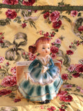 Hand painted Victorian Girl Wall Pocket Planter