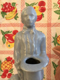 Haeger Blue Man with Hat and Dog Planter