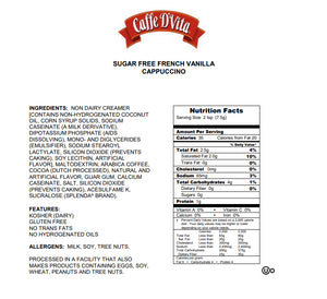 Copy of Caffe D'vita Sugar Free Cappuccino - French Vanilla