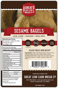 Great low carb bread company sesame bagel