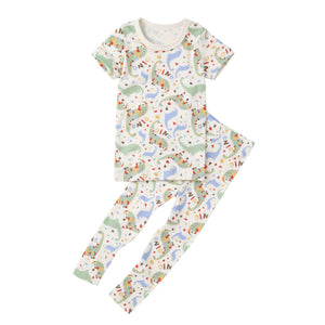 2-Piece Slim Pajama Set (Short Sleeves Long Pants) - Dinosaur
