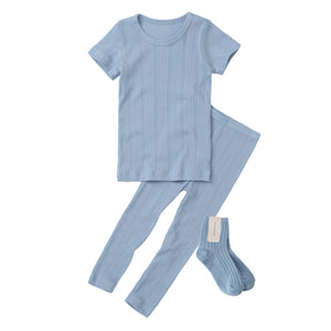 2-Piece Ribbed Knit Pajama Set (Short Sleeves Long Pants)- Cerulean Blue