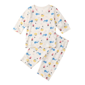 2-Piece Three Quarter Sleeves Pajamas - Whale Pirate