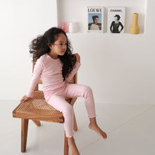 Load image into Gallery viewer, 2-Piece Ribbed Kids Knit Long Sleeved Pajama Set w socks-Creamy Pink