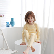 Load image into Gallery viewer, 2-Piece Ribbed Kids Knit Long Sleeved Pajama Set w socks- Vanilla Cream