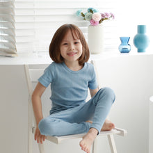 Load image into Gallery viewer, 2-Piece Ribbed Knit Pajama Set (Short Sleeves Long Pants)- Cerulean Blue