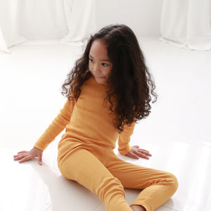 2-Piece Ribbed Kids Knit Long Sleeved Pajama Set w socks- Golden Mustard