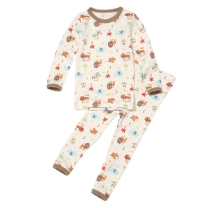 2-Piece Long Sleeve Slim Pajama Set - Animal Kingdom
