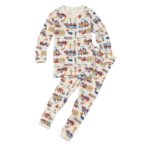 2-Piece Long Sleeve Slim Pajama Set - Train World