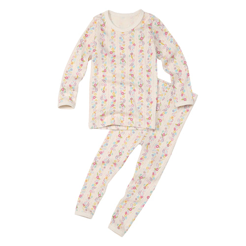 2-Piece Long Sleeve Slim Pajama Set - Pink Flower