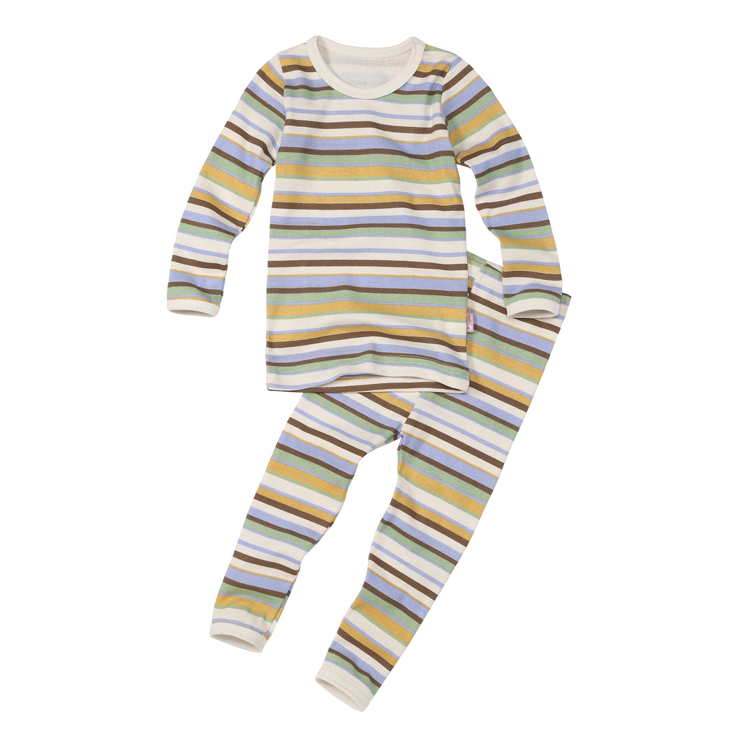 2-Piece Long Sleeve Slim Pajama Set - Dino Stripe