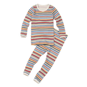 2-Piece Long Sleeve Slim Pajama Set - Train Stripe