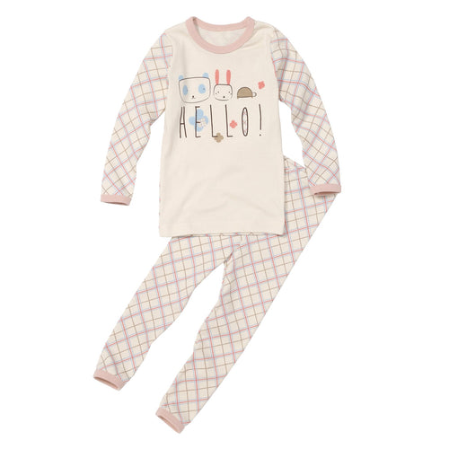 2-Piece Long Sleeve Slim Pajama Set - Pastel Check